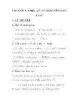 ĐỀ CƯƠNG ÔN TẬP MÔN HÓA HỌC CHƯƠNG 3: AMIN, AMINO AXIT, PROTEIN AMIN pps