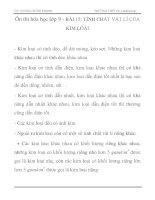 Ôn thi hóa học lớp 9 - BÀI 15: TÍNH CHẤT VẬT LÍ CỦA KIM LOẠI pps