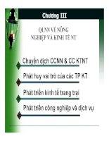 Bài giảng Quản lý nhà nước về nông nghiệp, nông thôn: Chương III Quản lý nhà nước về nông nghiệp và kinh tế nông nghiệp  Nguyễn Thị Thanh Thủy