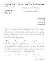 ĐỀ THI TRẮC NGHIỆM MÔN HÓA HỌC MÃ ĐỀ 209 SỞ GIÁO DỤC VÀ ĐÀO TẠO Trường THPT Đồng Quan pps