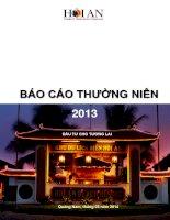 công ty cổ phần du lịch dịch vụ hội an báo cáo thường niên 2013 đầu tư cho tương lai