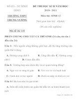 ĐỀ THI HỌC KÌ II MÔN SINH HỌC Mã đề thi 132 SỞ GD – ĐT BÌNH ĐỊNH TRƯỜNG THPT TRƯNG VƯƠNG ppsx