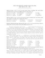ĐỀ LUYỆN THI TỐT NGHIỆP THPT& ĐẠI HỌC MÔN TIẾNG ANH - ĐỀ 1 docx