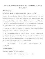 PHƯƠNG PHÁP GIẢI NHANH BÀI TẬP TRẮC NGHIỆM HÓA HỌC PHƯƠNG PHÁP 1 ÁP DỤNG ĐỊNH LUẬT BẢO TOÀN ppt