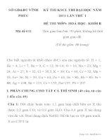 KỲ THI KSCL THI ĐẠI HỌC NĂM 2011 LẦN THỨ 1 ĐỀ THI MÔN: HOÁ HỌC Mã đề 010 SỞ GD&ĐT VĨNH PHÚC ppt
