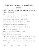 BỘ ĐỀ THAM KHẢO THI TỐT NGHIỆP MÔN SINH HỌC THPT ĐỀ SỐ 9 pdf