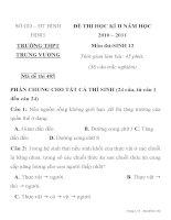 ĐỀ THI HỌC KÌ II MÔN SINH HỌC Mã đề thi 485 NĂM HỌC 2010 SỞ GD – ĐT BÌNH ĐỊNH TRƯỜNG THPT TRƯNG VƯƠNG docx