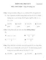 KIỂM TRA HỌC KỲ I Môn: HOÁ HỌC - Lớp 10 nâng cao Mã đề: 001 TRƯỜNG THPT LÝ TỰ TRỌNG potx