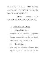 Giáo án hóa học lớp 10 nâng cao - BÀI 5 (tiết 7,8) LUYỆN TẬP VỀ: THÀNH PHẦN CẤU TẠO CỦA NGUYÊN TỬ. KHỐI LƯỢNG CỦA NGUYÊN TỬ. OBITAN NGUYÊN TỬ. pot