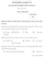 ĐỀ THI THỬ TỐT NGHIỆP THPT NĂM 2011 Môn: SINH HỌC Mã đề thi 658 BỘ GIÁO DỤC VÀ ĐÀO TẠO ppt