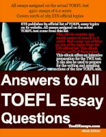 Answers to All TOEFL Essay Questions phần 1 pdf