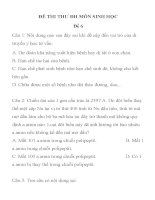 ĐÊ THI THƯ ĐH MÔN SINH HỌC Đề 6 TRƯỜNG THPT HÀ HUY TẬP ppsx