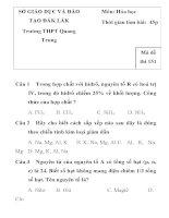 ĐỀ KIỂM TRA 1 TIẾT MÔN HÓA HỌC LỚP 10 SỞ GIÁO DỤC VÀ ĐÀO TẠO ĐẮK LẮK Trường THPT Quang Trung pps