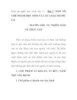 Giáo án nghề làm vườn lớp 11 - Bài 7: MỘT SỐ CHẾ PHẨM HỌC SINH VÀ CÁC LOẠI THUỐC CÓ NGUỒN GỐC TỰ NHIÊN BẢO VỆ THỰC VẬT ppsx