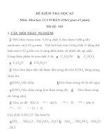 ĐỀ KIỂM TRA HỌC KÌ I MÔN HÓA HỌC LỚP 11 MÃ ĐỀ 103 TRƯỜNG THPT NGUYỄN VĂN TRỖI ppt