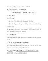 Giáo án hóa học lớp 12 cơ bản – Tiết 28: TÍNH CHẤT CỦA KIM LOẠI lY ĐIỆN HỐ CỦA KIM LOẠI (Tiết 1) pps