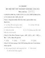 ĐỀ THI THỬ TỐT NGHIỆP NĂM HỌC 2010-2011 Môn sinh học Mã đề 158 pptx