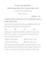 ĐỀ THI THỬ ĐẠI HỌC LẦN I. MÔN SINH HỌC MÃ ĐỀ: 127 Sở GD và ĐT Thanh Hóa Trường THPT Lê Hồng Phong potx