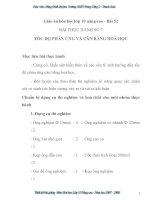 Giáo án hóa học lớp 10 nâng cao - Bài 52 BÀI THỰC HÀNH SỐ 7 TỐC ĐỘ PHẢN ỨNG VÀ CÂN BẰNG HOÁ HỌC pdf