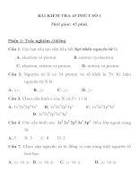 BÀI KIỂM TRA 45 PHÚT SỐ 1 MÔN HÓA HỌC LỚP 10 TRƯỜNG THPT YÊN THÀNH 3 pdf