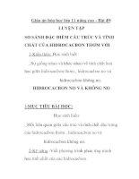 Giáo án hóa học lớp 11 nâng cao - Bài 49: LUYỆN TẬP SO SÁNH ĐẶC ĐIỂM CẤU TRÚC VÀ TÍNH CHẤT CỦA HIDROCACBON THƠM VỚI HIDROCACBON NO VÀ KHÔNG NO doc