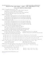 BÀI TẬP HÓA HỌC LỚP 10 CHUYÊN ĐỀ:PHẢN ỨNG OXI HOÁ - KHỬ, TỐC ĐỘ PHẢN ỨNG VÀ CÂN BẰNG HOÁ HỌC pps