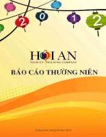 công ty cổ phần du lịch dịch vụ hội an báo cáo thường niên 2012