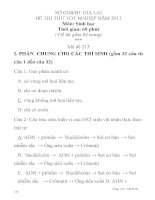 ĐỀ THI THỬ TỐT NGHIỆP NĂM 2011 Môn: Sinh học Mã đề 213 SỞ GD&ĐT GIA LAI pot