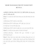 BỘ ĐỀ THAM KHẢO THI TỐT NGHIỆP MÔN SINH HỌC THPT ĐỀ SỐ 10 pdf