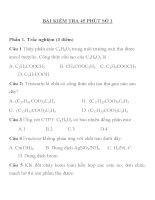 BÀI KIỂM TRA 45 PHÚT SỐ 1 MÔN HÓA HỌC LỚP 10 TRƯỜNG THPT NGÔ QUYỀN pptx