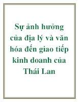 Luận văn: Sự ảnh hưởng của địa lý và văn hóa đến giao tiếp kinh doanh của Thái Lan pptx