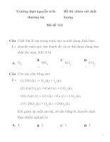 Đề thi khảo sát chất lượng môn hóa học Mã đề 113 Trường thpt nguyễn trãithường tín doc