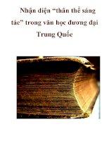 """Nhận diện """"thân thể sáng tác"""" trong văn học đương đại Trung Quốc _1 pptx"""