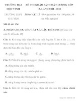 ĐỀ THI KHẢO SÁT CHẤT LƯỢNG LỚP 12 TRƯỜNG ĐẠI HỌC VINH MÔN VẬT LÝ mã đề thi 126 pdf