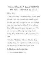 Giáo án thể dục lớp 5 - BÀI 5: ĐỘI HÌNH ĐỘI NGŨ – TRÒ CHƠI: BỎ KHĂN docx