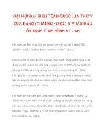 ĐẠI HỘI ĐẠI BIỂU TOÀN QUỐC LẦN THỨ V CỦA ĐẢNG (THÁNG 3-1982) & PHẤN ĐẤU ỔN ĐỊNH TÌNH HÌNH KT - XH_2 ppt