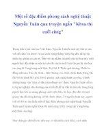 Một số đặc điểm phong cách nghệ thuật Nguyễn Tuân qua truyện ngắn