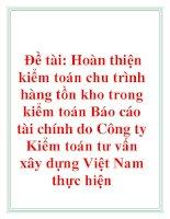 Đề tài: Hoàn thiện kiểm toán chu trình hàng tồn kho trong kiểm toán Báo cáo tài chính do Công ty Kiểm toán tư vấn xây dựng Việt Nam thực hiện pdf