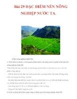 Bài 29 ĐẶC ĐIỂM NỀN NÔNG NGHIỆP NƯỚC TA. docx