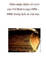Nhìn nhận thêm về vị trí của Vũ Đình Long (1896 1960) trong lịch sử văn học_2 ppt