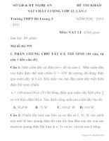 ĐỀ THI KHẢO SÁT CHẤT LƯỢNG MÔN VẬT LÝ LỚP 12 Trường THPT Đô Lương 3 pot