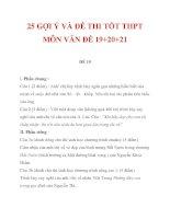 25 GỢI Ý VÀ ĐỀ THI TỐT THPT MÔN VĂN ĐỀ 19+20+21 doc
