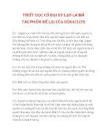 TRIẾT HỌC CỔ ĐẠI HY LẠP-LA MÃ TÁC PHẨM ĐỂ LẠI CỦA HÉRACLITE docx