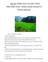Bài 54: PHÂN TÍCH VÀ GIẢI THÍCH TÌNH HÌNH PHÁT TRIỂN CÔNG NGHIỆP Ở ĐÔNG NAM BỘ pptx