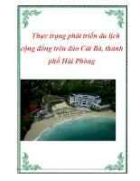 Đề tài: Thực trạng phát triển du lịch cộng đồng trên đảo Cát Bà thành phố Hải Phòng pps