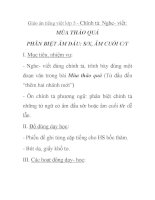 Giáo án tiếng việt lớp 5 - Chính tả: Nghe- viết: MÙA THẢO QUẢ PHÂN BIỆT ÂM ĐẦU: S/X, ÂM CUỐI C/T pps