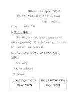 Giáo án toán lớp 5 - Tiết 18 ÔN TẬP VỀ GIẢI TOÁN (Tiếp theo) T doc