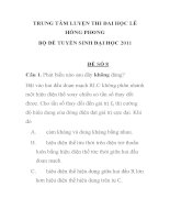 TRUNG TÂM LUYỆN THI ĐAI HỌC LÊ HỒNG PHONG BỘ ĐỀ TUYỂN SINH ĐẠI HỌC 2011 ĐỀ SỐ 8. docx