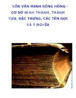 NỀN VĂN MINH SÔNG HỒNG CƠ SỞ HÌNH THÀNH, THÀNH TỰU, ĐẶC TRƯNG, CÁC TÊN GỌI VÀ Ý NGHĨA pdf
