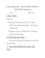 Giáo án toán lớp 5 - Tiết 33: KHÁI NIỆM SỐ THẬP PHÂN (tiếp theo) pps